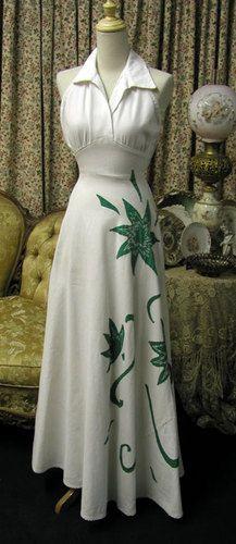 D414 1930's White Pique Halter with Floral Appliqué Evening Gown | eBay