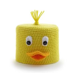 """""""LUCKY DUCK"""" CROCHETED TOILET PAPER COVER ♦ Pattern in """"Amigurumi Toilet Paper Covers"""" by Linda Wright. http://amazon.com/dp/0980092361/ Toilet paper covers have a fresh and trendy look in this cute book."""