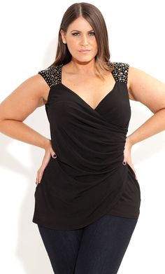 City Chic - STUD SURPRISE TOP - Women's plus size fashion