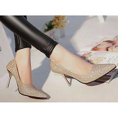 Femme Chaussures à Talons Confort Escarpin Basique Vrai cuir Polyuréthane Automne Hiver Décontracté Or Argent 7,5 à 9,5 cm de 6099747 2017 à $19.99