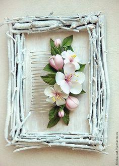 """Купить Гребень """"Запах весны"""" - белый, гребень, гребень для волос, гребень с цветами, гребешок"""