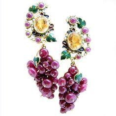 PERCOSSI PAPI, boucles d'oreilles or 18 carats, rubis, citrine $ 3.864