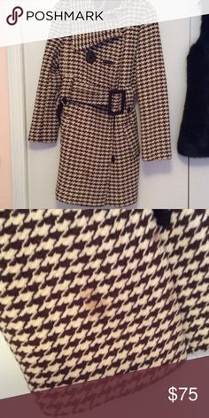 Soia and Kyo houndstooth coat This coat is gorgeous! Hassan asymmetrical collar, double breasted size Large. I clearly spilled something towards the bottom and I haven't tried to get it out a I usually dry clean my items. This was a splurge of a coat as it was 300 new. soia and kyo Jackets & Coats Trench Coats