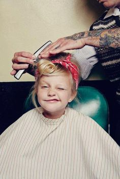 So cute! Girl Greaser hair style. Red bandana. At the Barber Shop. Tattoos.