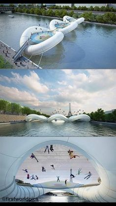 A trampoline bridge across the Seine river in Paris