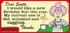 Aunty Acid: Dear Santa, I'd like a new Birthday Suit this year. My current one is old, wrinkled, and sagging. Funny Christmas Poems, Christmas Humor, Christmas Ideas, Christmas Time, Christmas Quotes, Christmas Cards, Merry Christmas, Holiday Sayings, Holiday Meme