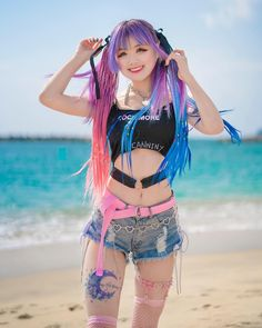💖 Pink and blue by the beach 🏝 Pastel Goth Fashion, Kawaii Fashion, Cute Fashion, Cute Asian Girls, Beautiful Asian Girls, Cute Girls, Mode Kawaii, Kawaii Girl, Cute Cosplay