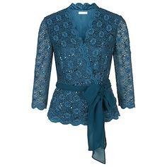 Buy Jacques Vert Lace Cross Front Top, Blue Online at johnlewis.com