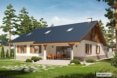 Projekt domu Rózia Energo Plus - Cabin House Plans, Dream House Plans, Small House Plans, Small Rustic House, Small Cottage Homes, Beautiful House Plans, House Wiring, Weekend House, Contemporary House Plans