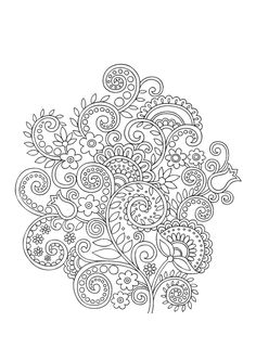 Curls and twirls coloring page