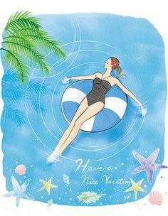 "Original Work ""summer vacation"" イラストレーター 山田有紀 Chibi, Disney Characters, Fictional Characters, Adventure, Vacation, The Originals, Disney Princess, Gallery, Summer"