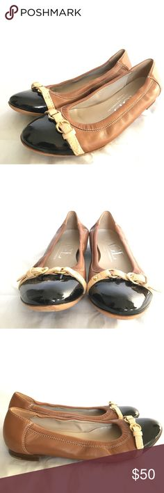 AGL Nordstrom Leather Tan Black Ballet Flats Great pair of leather flats in excellent condition! Little if no wear marks on inside of shoe, only wear can be seen on bottom of shoe. Patented leather toe cap, leather strap with gold plated buckle, and leather-elastic body. Size 38.5 or 8.5 women's. Offers welcome :) AGL Shoes Flats & Loafers