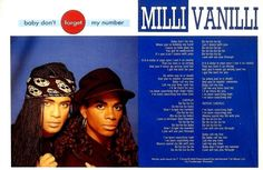 SHV11N1P19 MILLI VANILLI BABY DON'T FORGET MY NUMBER SONGWORDS