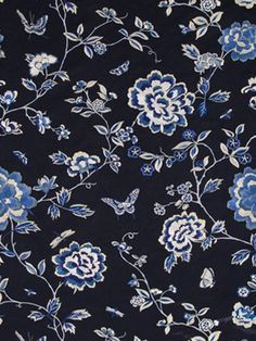 Beacon Hill embroidered silk fabric - Peony King in Navy. $289.75 This embroidered silk fabric and many more fabrics, trims, and wallpapers are available for the guaranteed lowest price online at Designerfabricsusa.com