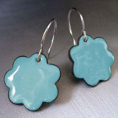 Blossom Enamel Earrings Sky Blue Kiln Fired Glass by marstinia