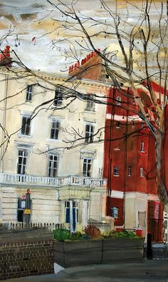 """Pimlico"" by Peter Quinn Watercolor Landscape, Landscape Paintings, Landscapes, Urban Sketchers, London Art, Urban Landscape, Beautiful Paintings, House Painting, Urban Art"