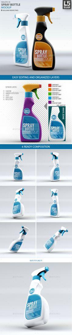 Spray Bottle Mock-Up | #spraybottlemockup #spraymockup | Download: http://graphicriver.net/item/spray-bottle-mockup/9250588?ref=ksioks