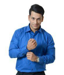 Dennison Smart Blue Solid  Mens Formals Shirts