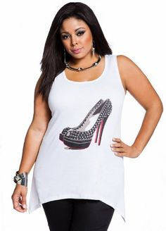 46f295a18f1 Ashley Stewart Womens Plus Size Studded Shoe Screen Tank White 18 20  coupon