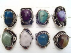 Colorful Agate Rings. Click the link to purchase our unique handmade Peruvian jewelry at awesome wholesale prices (includes shipping & insurance!)  Make money with your own online or offline business selling Peruvian Jewelry or save big on beautiful gifts for yourself or that special someone! Click here:  http://www.wholesaleperuvianjewelry.com/