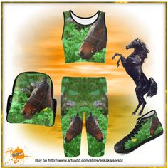 Outfit for any horses lover. high top canvas shoes, backpack, cropped leggings, sports bra. FREE Shipping. Buy on http://www.artsadd.com/store/erikakaisersot?rf=11001
