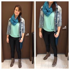 Leather pants are back! look out world! #fall #denimjacket #scarf #ankelboots #leather #messengerbag