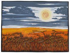 "✨ Nick Wroblewski, American - Full Moon, color woodcut, 16"" x 22"""