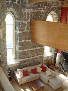 A converted church. Not my style for decorating (too modern), but very nice all the same.