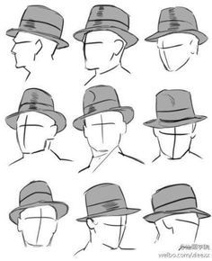 """tricotee: """" dunno if you guys were still wanting these hat refs but it's fedora time if I said I didn't have enough misc. sketches and films filled with fedora-wearing crowds to produce dozens more reference plates the same size as this one, I'd be. Drawing Reference Poses, Drawing Poses, Drawing Tips, Drawing Sketches, Art Reference, Art Drawings, Cap Drawing, Sketching, Top Hat Drawing"""