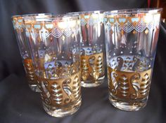 Vintage Set of 4 Tom Collins Glasses Tumblers by SlyfieldandSime, $32.00