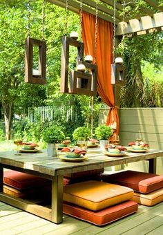 Backyard Patio Design Ideas ~ cushion seating on patio Ideas for maximizing the use of your outdoor living space. Inspiration on small spaces, different design styles, functions, and furniture arrangements Outdoor Rooms, Outdoor Dining, Outdoor Gardens, Outdoor Furniture Sets, Outdoor Decor, Furniture Ideas, Outdoor Seating, Outdoor Ideas, Dining Area