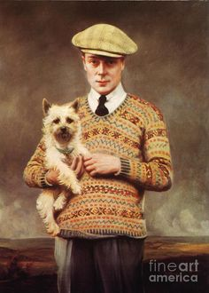 """Edward Albert Christian George Andrew Patrick David Windsor """"David"""", Prince of Wales, UK. He was crowned Edward VIII in 1936 & abdicated the throne later the same year to his brother Albert Frederick Arthur George (George VI) Duke of York, UK. Tweed, Eduardo Viii, Fair Isle Pullover, Motif Fair Isle, Tricot D'art, Shetland, Wallis Simpson, Ugly Holiday Sweater, Norwich Terrier"""
