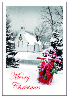 5f6ed79dc0cf Peaceful Eve Merry Christmas Cards with Church and Red Sled  https   partyblock.