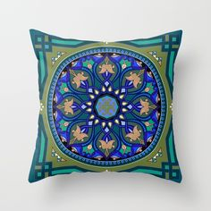 Boho Floral Crest Blue and Green Throw Pillow