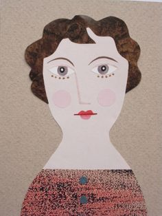 Portrait of a (Disillusioned) Lady (Cut paper collage) Amanda White www.amandawhite-contemporarynaiveart.com