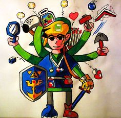'Handy Link'; Size: A3; Technic: tempera; Game: The Legend of Zelda - A Link to the Past (Nintendo, 1991)