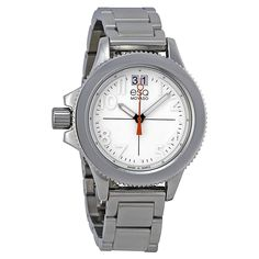 Quartz movement Case diameter: 36mm Durable mineral crystal White dial Water resistant to 99 feet (30 M): withstands rain and splashes of water, but not   Watches