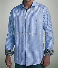 ROBERT GRAHAM MORGAN (2XL) Blue Stripe Shirt Embroidered Paisley Designs *NWOT*