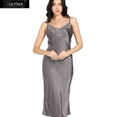 Lilysilk Silk Long Nightgowns Sleepshirts Women Sexy Lace 22 Momme Lingerie Sleeveless Luxury Slip Sleep Dress Sleepwear Clothes