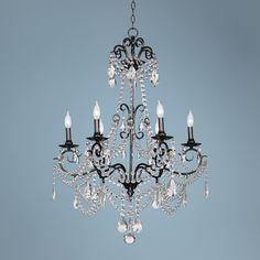 Vienna Full Spectrum Crystal 6-Light Large Black Chandelier $449