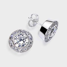 Designer Cubic Zirconia Stud Earrings Featuring 1 0 Carat Each 6 5mm Brilliant Round Bezel