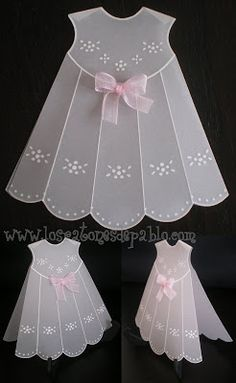 Use embossing templates and vellum to make a vintage baby dress embellishment for your heritage page. Baby Scrapbook, Scrapbook Cards, Vintage Baby Dresses, Parchment Cards, Baby Girl Cards, Dress Card, Shaped Cards, Baby Christening, Card Tutorials