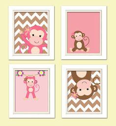 Nursery Quad Pink and Brown Nursery Monkey Nursery by ChicWallArt, $37.00