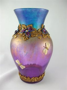 plain vase decorated with polymer clay