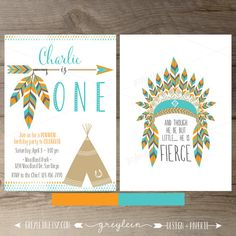 Pow wow Birthday Party Invitations • ONE • arrows feathers tribal native teepee • Orange Turquoise • DIY Printable