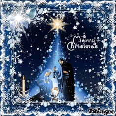 Christmas picture was taken by with the free animated - Christmas Bi Mary Christmas, Merry Christmas Images, Christmas Artwork, Merry Christmas Greetings, Christmas Blessings, Christmas Paintings, Christmas Scenes, Christmas Nativity, Blue Christmas