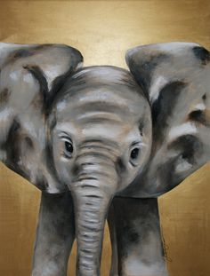 MADE TO ORDER Baby Elephant Acrylic Painting on Wood, Original By Renée W. Levin. $800.00, via Etsy.