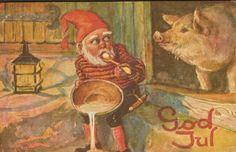 Julekort Lillo-Stenberg. Nisse m/grøt. No.Arbeide