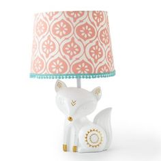 Create a sweet woodland nursery for your little one with the Fiona Crib Bedding Collection from Levtex Baby. The Lamp Base and Shade feature an adorable fox with metallic gold accents supporting a coral print fabric shade. Fox Themed Nursery, Woodland Nursery Girl, Fox Nursery, Girl Nursery Themes, White Nursery, Nursery Room, Nursery Ideas, Woodland Theme, Animal Nursery