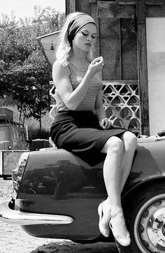 Brigitte Bardot / during production of Jean-Luc Godard's Le Mépris [English title: Contempt] (1963)